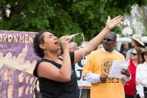 Taina Asili performs at a protest in Albany, NY.