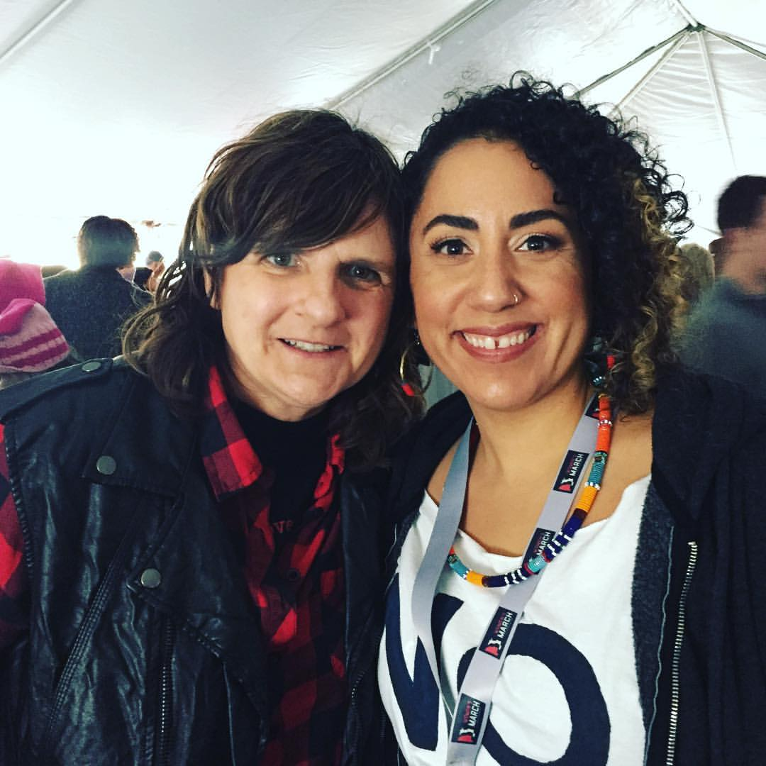 Taina Asili and Amy Ray from the Indigo Girls back stage at The Women's March.