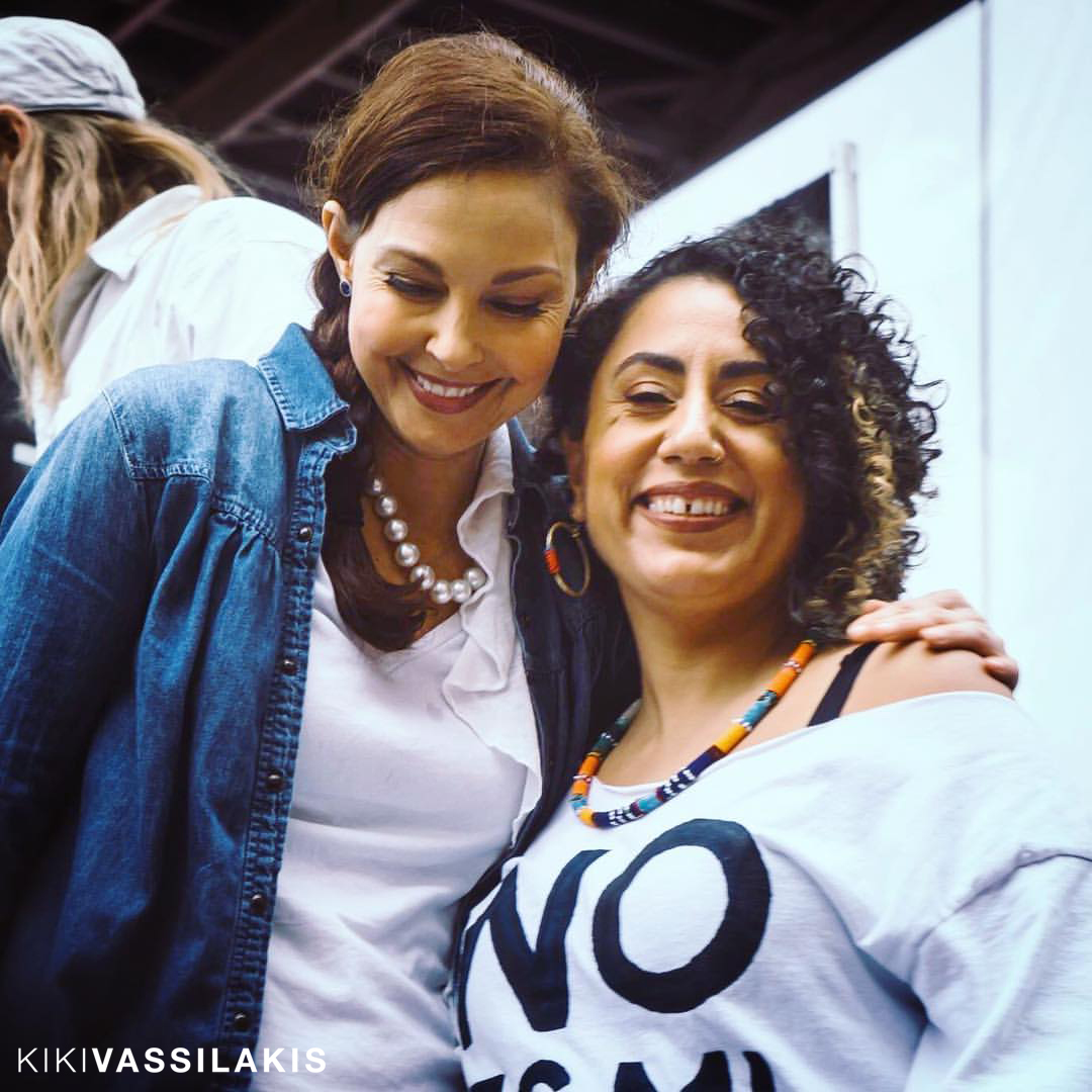Taina Asili and Ashley Judd at on stage at The Women's March.