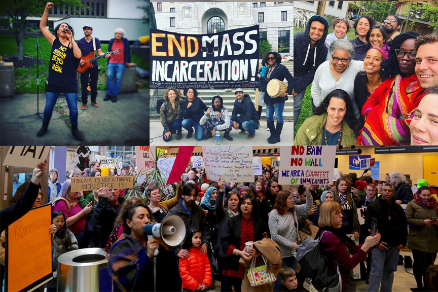 Top right to left: Cosecha protest on May Day for protection of undocumented immigrants; May 10th protest against mass incarceration in New York State; Board of Soul Fire Farm Institute. Bottom: Albany International Airport protests against new Islamaphobic immigration laws.
